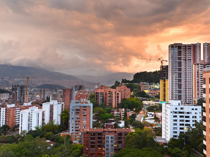 Vertical Medellin Landscape at Sunset