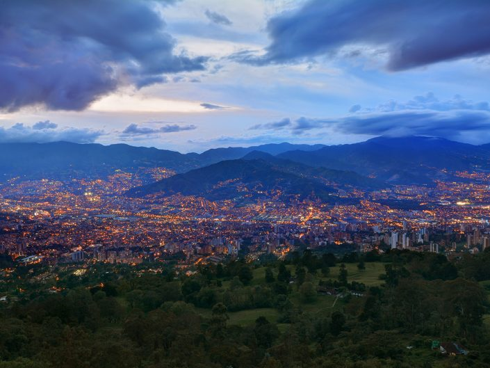 Medellin City Lights From Las Palmas