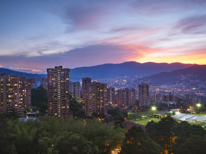 Medellin with a Pink Sunset