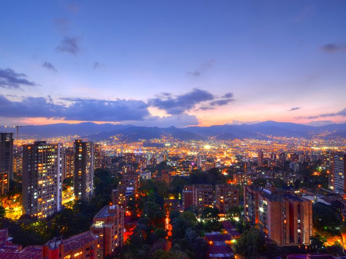 Purple Skies in a Medellin City View