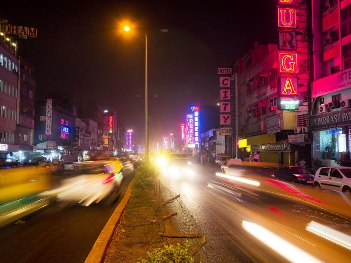 Delhi India Night Traffic