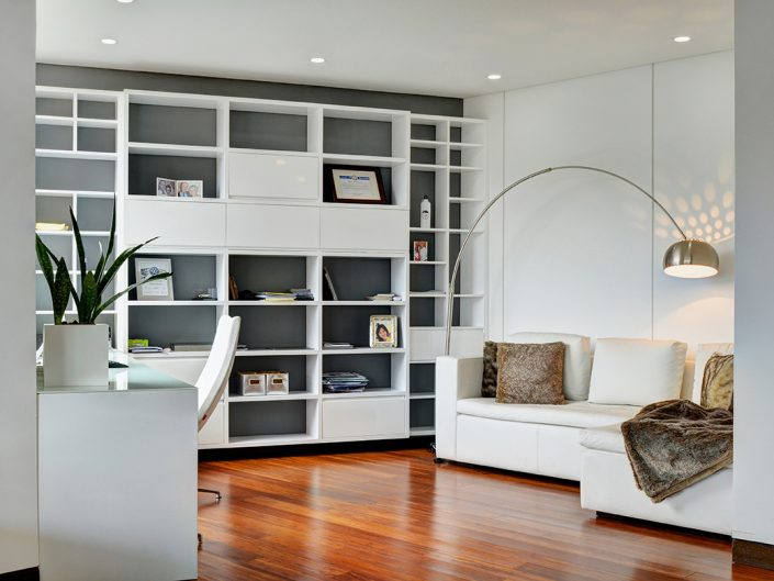 White Home Office with clean interior design in Medellin
