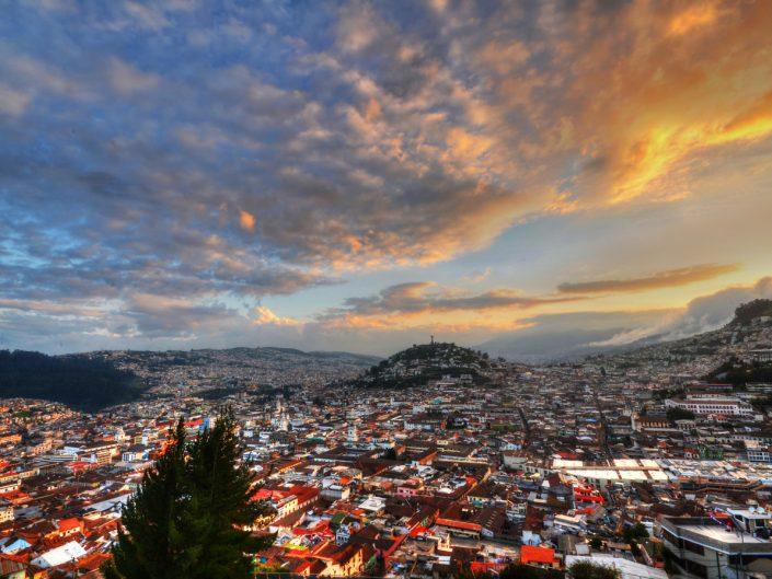 Quito Ecuador Landscape at Sunset