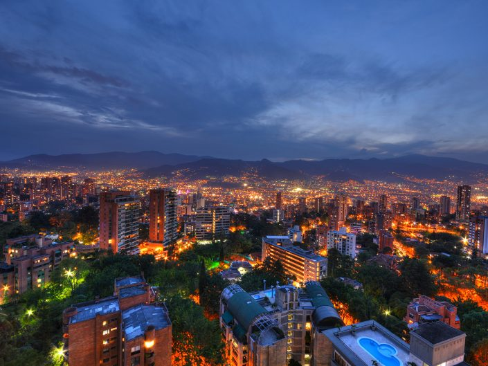 Colourful City Lights in Medellin Night