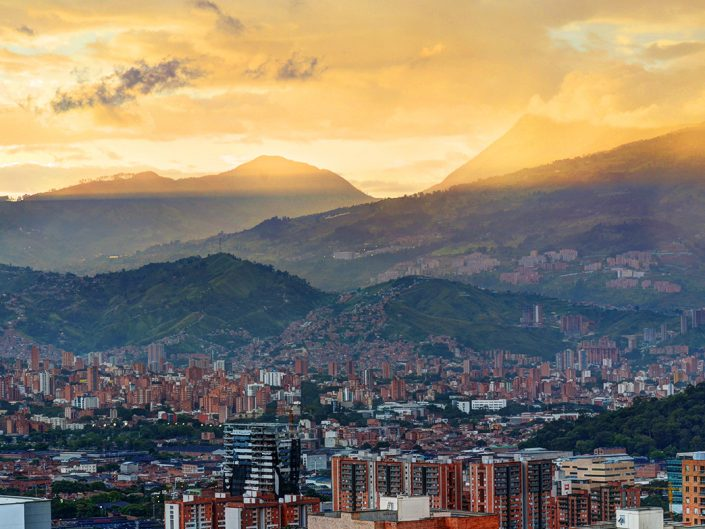 Medellin Mountains and Sunlight