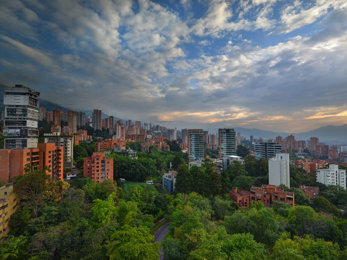 Medellin Skyline with Green Trees