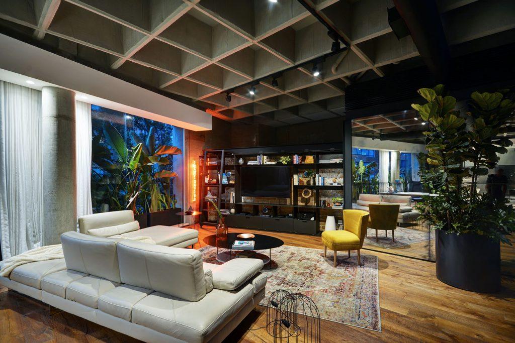 Loft Living Room with Dramatic Lighting