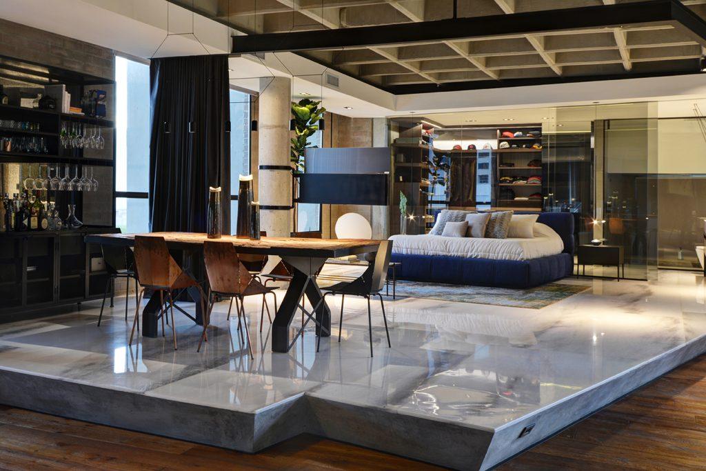 Bedroom on Raised Marble Flooring in the sexiest loft in Medellin